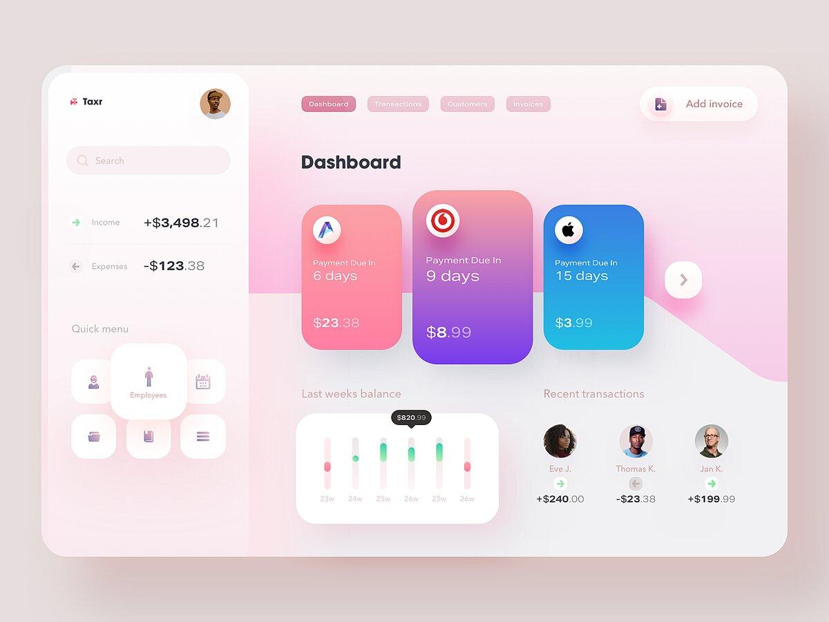 accounting software dashboard