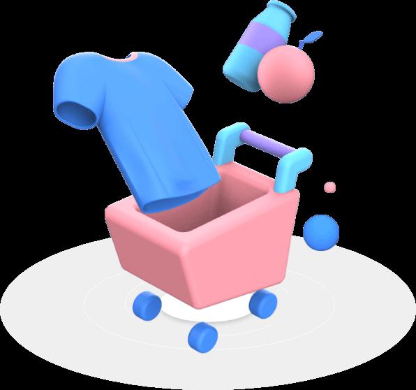 3D Ecommerce cart