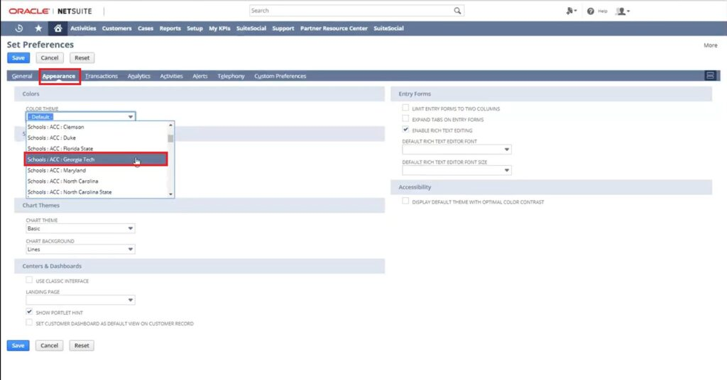 How to change NetSuite Dashboard Color?