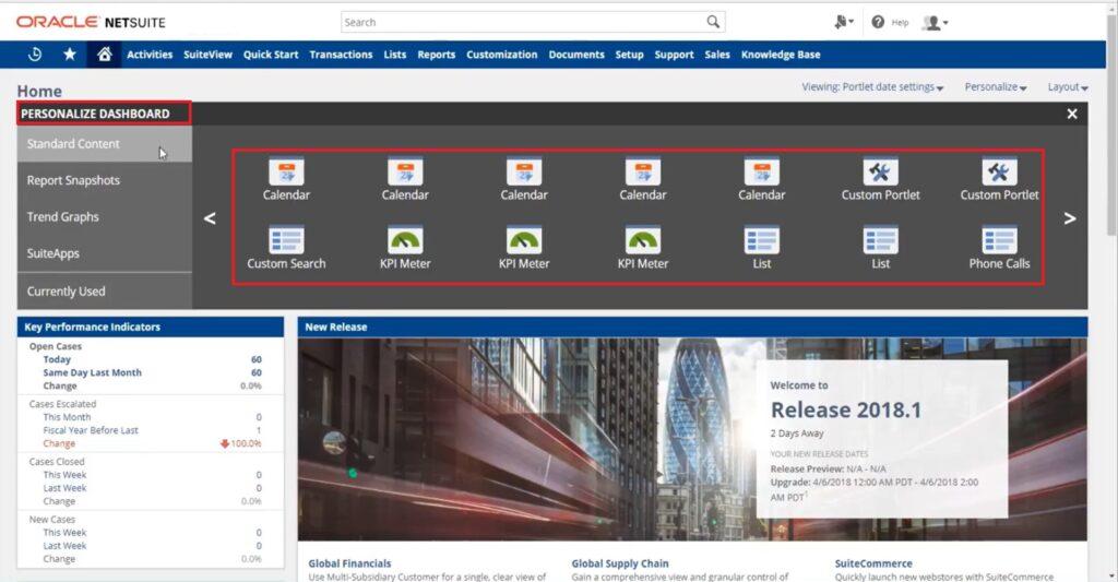 NetSuite customize dashboard