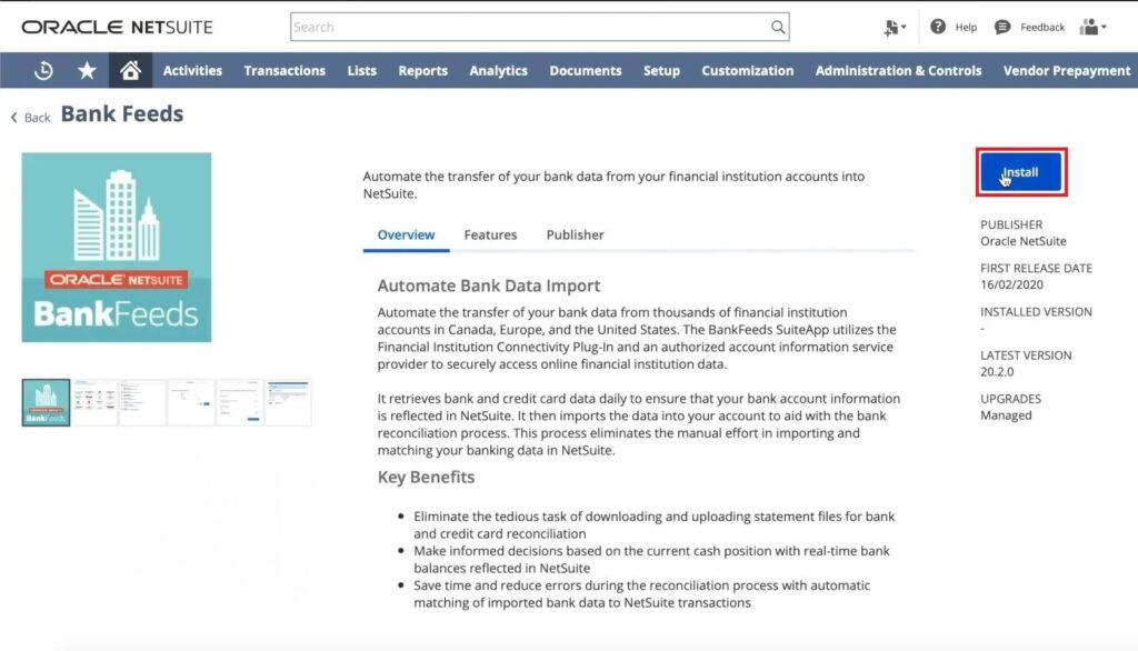 NetSuite Bank Feeds App Installation