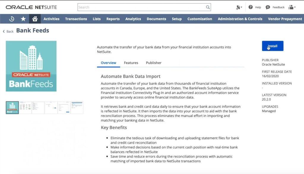 NetSuite Bank Feeds App