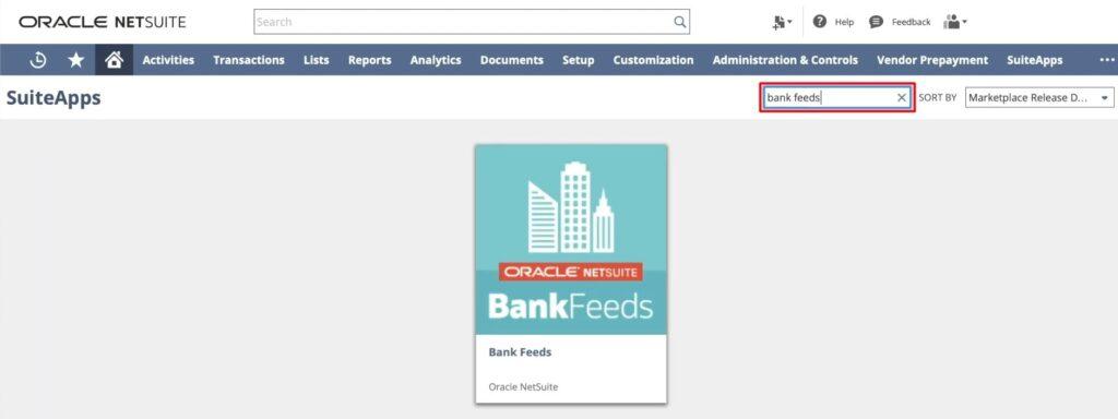 Finding NetSuite Bank Feeds App