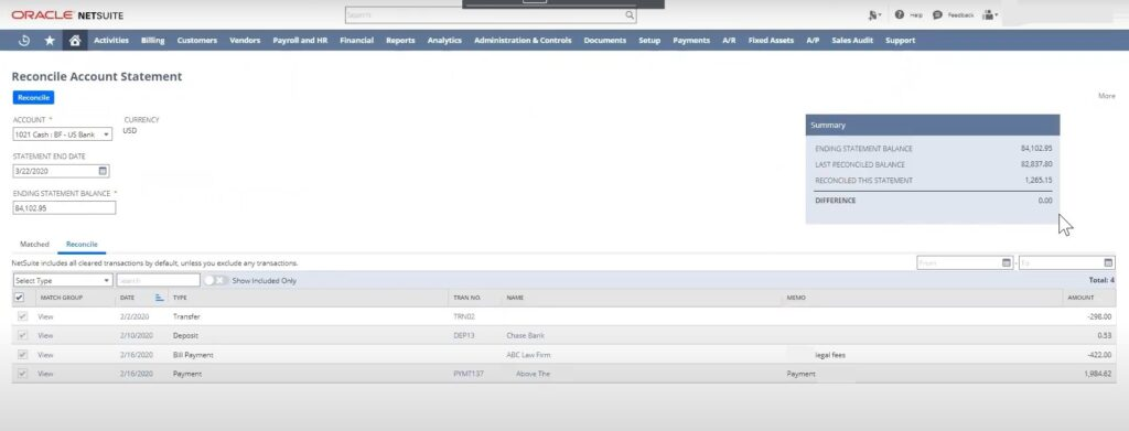 Reconcile account statement in NetSuite bank feeds