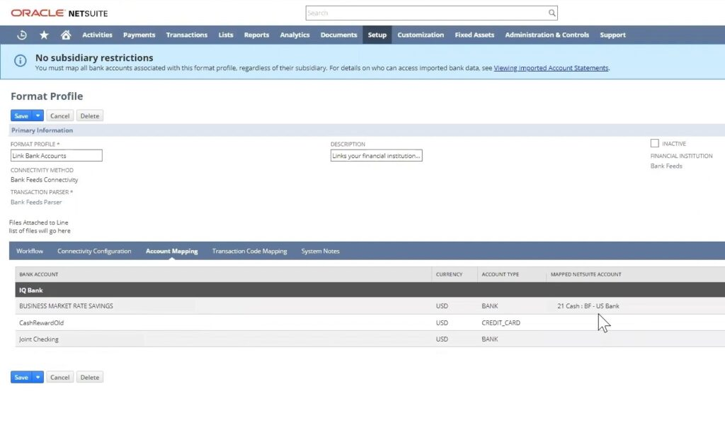 Linking to financial accounts in bank feeds