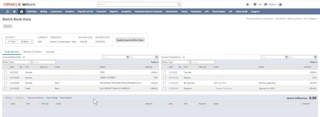 Match bank data in Suiteapp