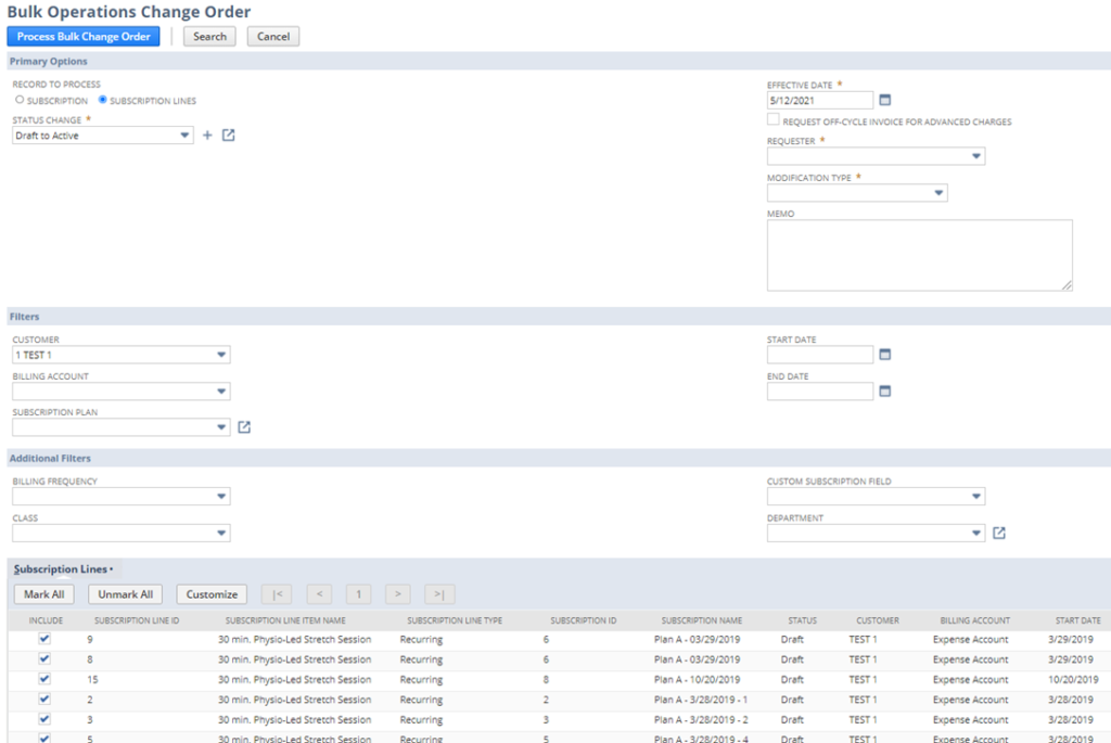 NetSuite 2021.2 - activation or suspension of many subscriptions or subscription lines