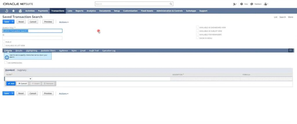 NetSuite quick search