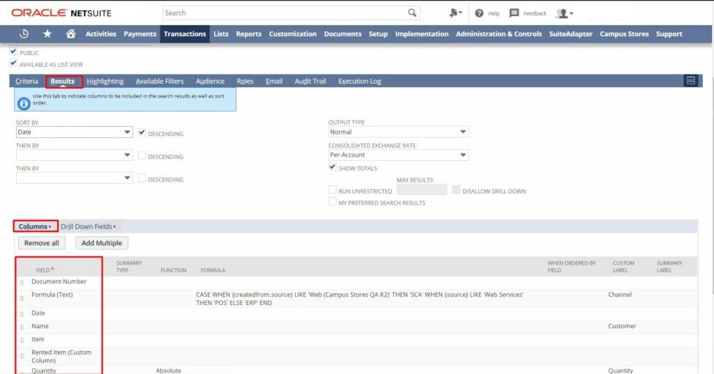 custom fields in netSuite saved search