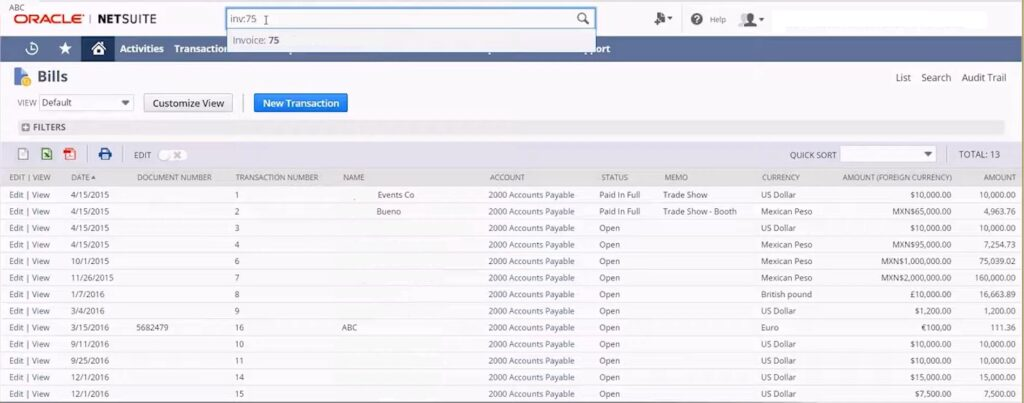 NetSuite Global Search